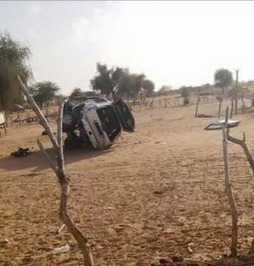 صورة السيارة التي كان يستقلها نجل الرئيس الموريتاني