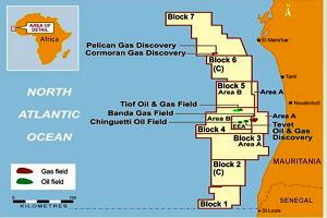 شكل يوضح مواقع حقول الغاز والنفط على السواحل الموريتانية (المصدر: وزارة المعادن الموريتانية)