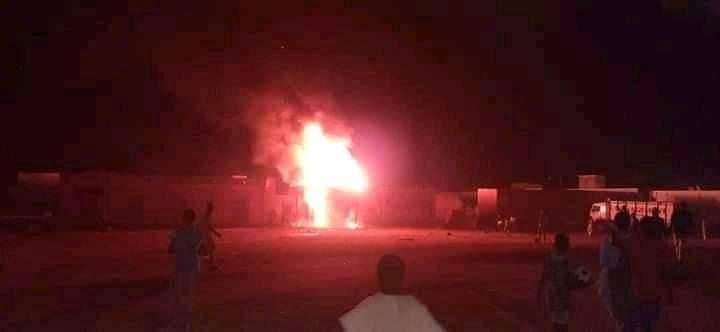 جانب من الحريق الذي اندلع مساء اليوم تم تداولها على فيسبوك