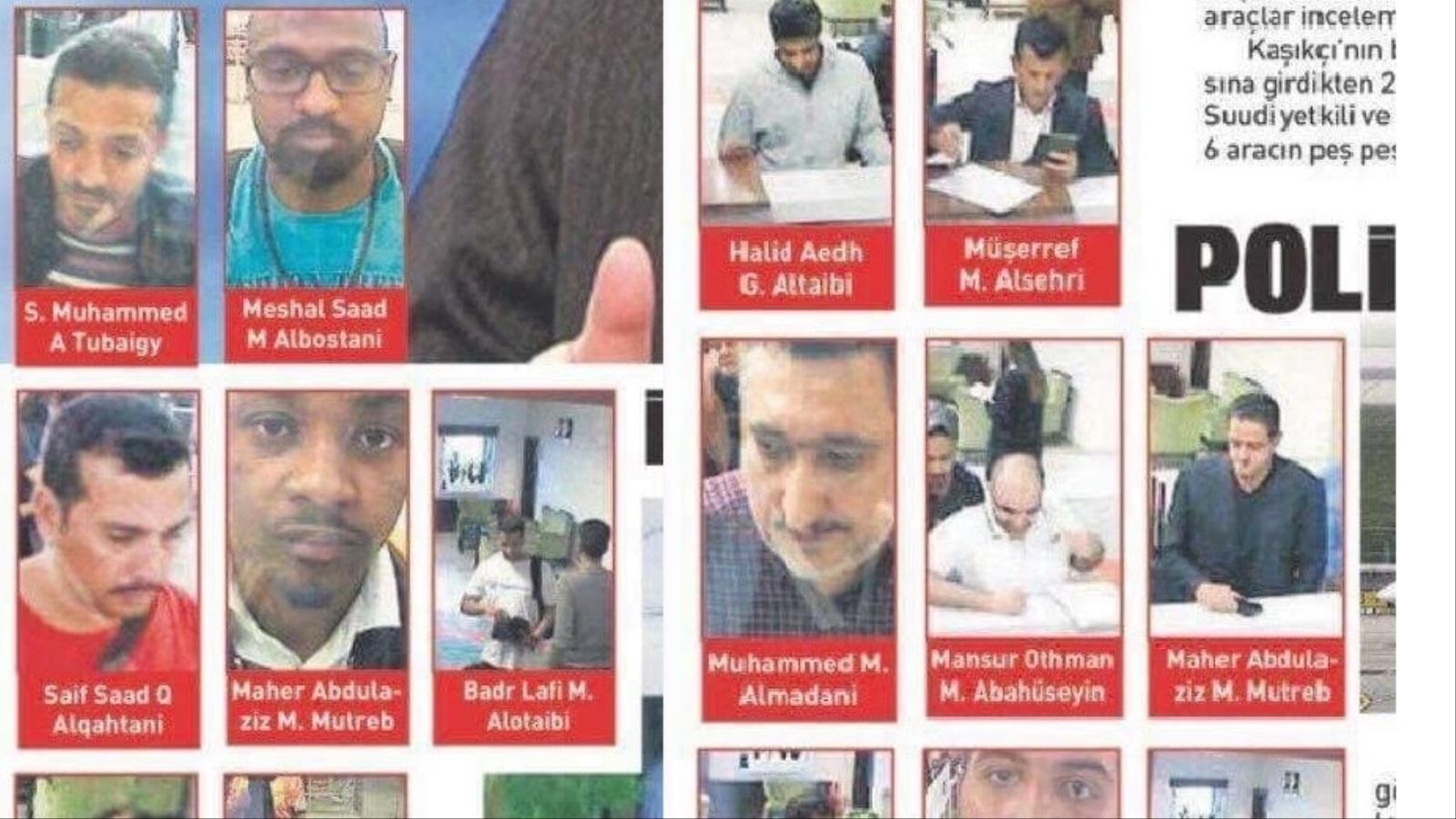 """وسائل إعلام تركية تنشر صور 15 سعوديا تقول إنهم """"متورطون في تعذيب وقتل خاشقجي"""" (مواقع التواصل الاجتماعي)"""
